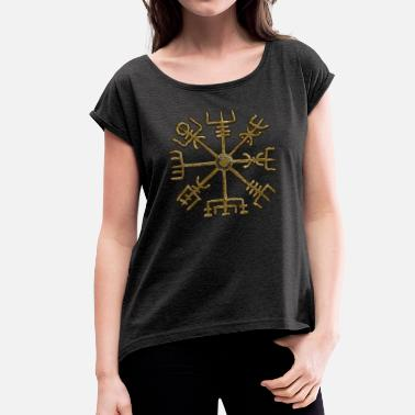 Staves Vegvisir, Icelandic magical stave - navigator - Women's T-Shirt with rolled up sleeves