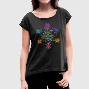 Metatrons Cube, Chakras, Cosmic Energy Centers - Women's T-shirt with rolled up sleeves
