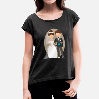 Bachelor Bride Bachelor with bride - Women's T-Shirt with rolled up sleeves