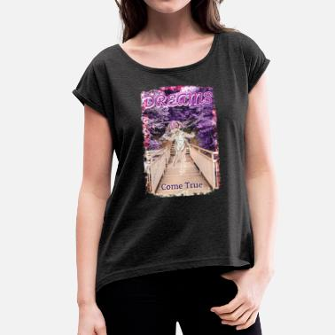 Backside Anime Girl - Dreams Come True - Vrouwen T-shirt met opgerolde mouwen