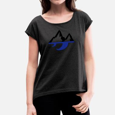 Waves Mountain & Wave - Women's T-Shirt with rolled up sleeves