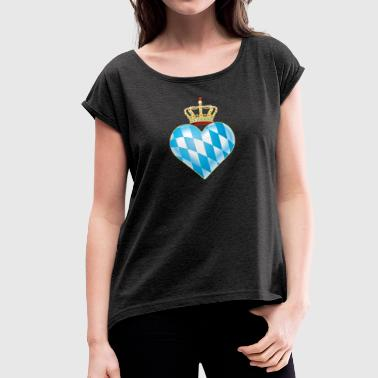 Kingdom Bayern heart - Women's T-Shirt with rolled up sleeves