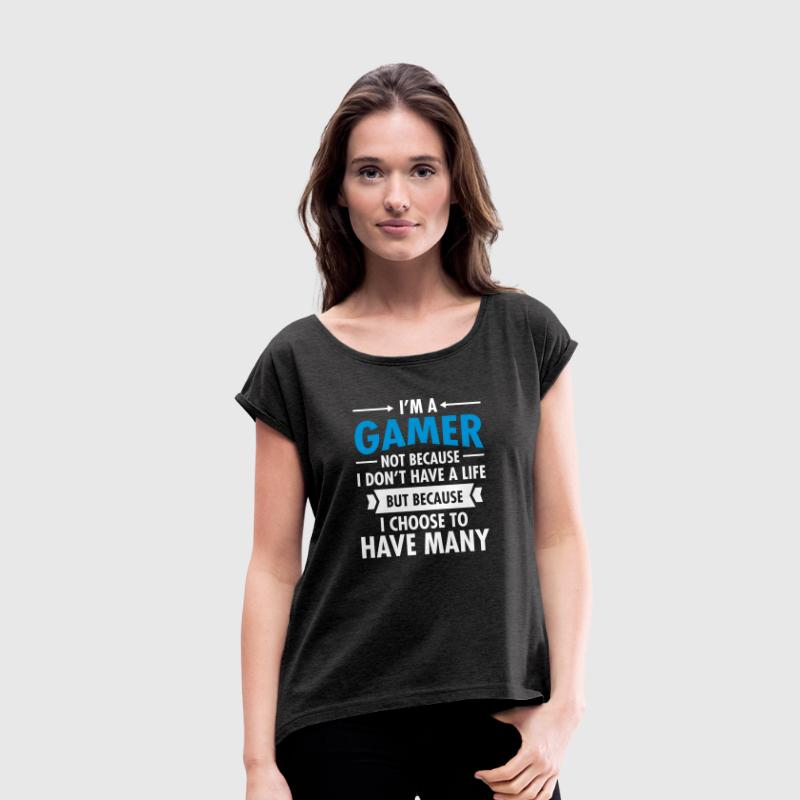 Geek I'm A Gamer Many Lives - Dame T-shirt med rulleærmer