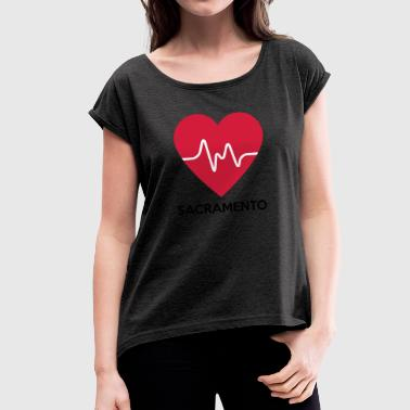 Sacramento heart Sacramento - Women's T-Shirt with rolled up sleeves