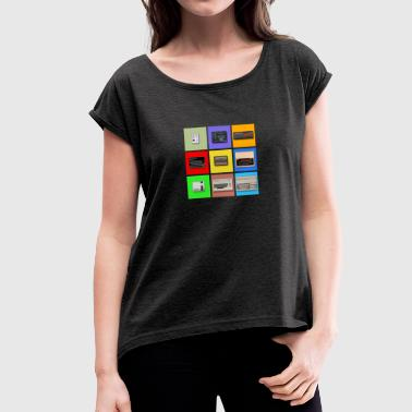 Master System Pixel Retro Gaming Machines Squares - Women's T-Shirt with rolled up sleeves