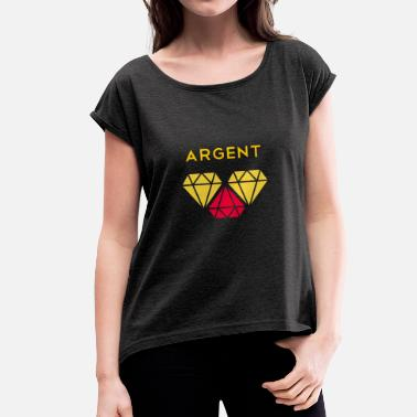 Red Money Silver diamond argent money red yellow - Women's T-Shirt with rolled up sleeves