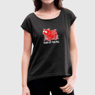 Paper Cutting Year Of The Pig TShirt Paper Cutting Pig Sunglass - Women's T-Shirt with rolled up sleeves