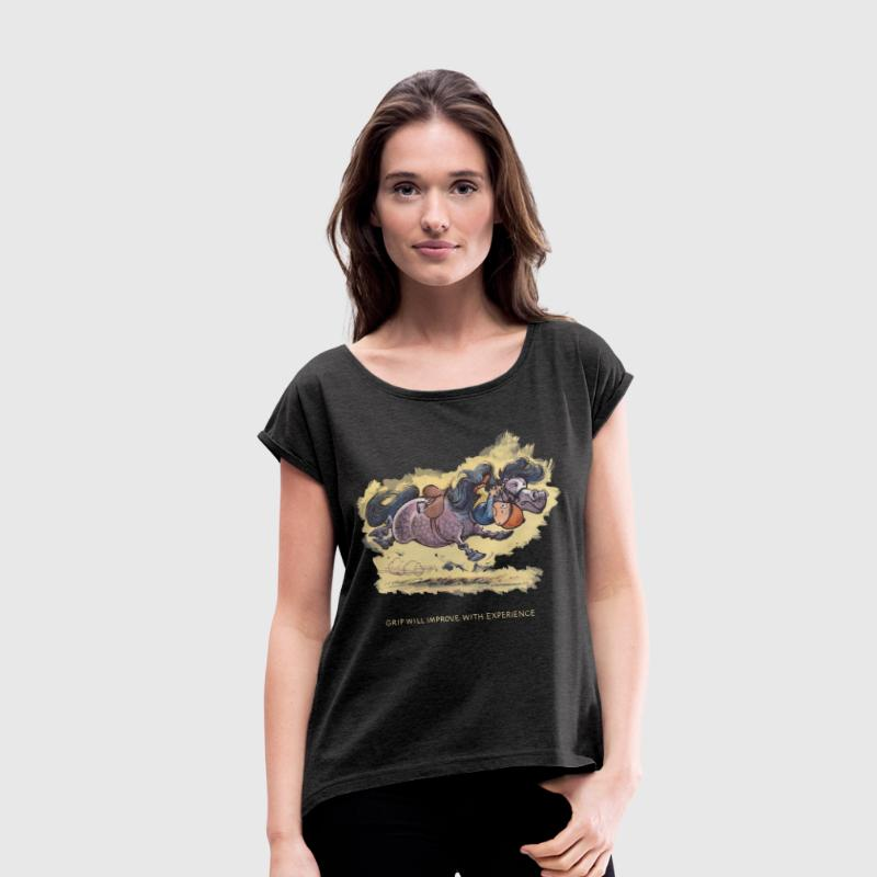 Thelwell - Rider ist falling down - Women's T-shirt with rolled up sleeves