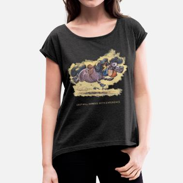 Thellwell Thelwell - Rider ist falling down - Women's Rolled Sleeve T-Shirt