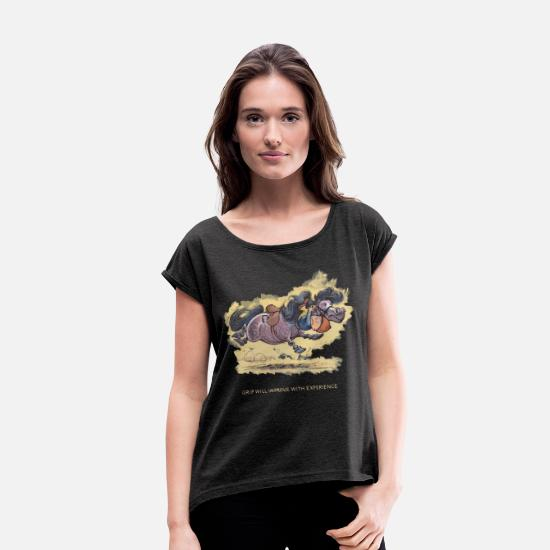 Officialbrands T-Shirts - Thelwell - Rider ist falling down - Women's Rolled Sleeve T-Shirt heather black