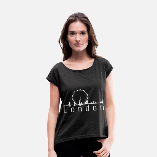 Gift Idea T-Shirts - London - Women's Rolled Sleeve T-Shirt heather black