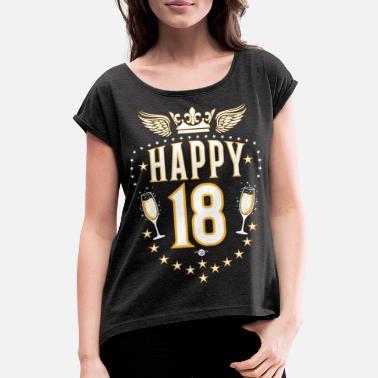 0eab327915f3b 18 Cumpleaños 01 Happy 18 Champagne cumpleaños alas alas - Camiseta con  manga enrollada mujer