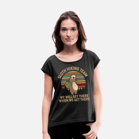 Sloth T-Shirts - Sloth Hiking Team print - Women's Rolled Sleeve T-Shirt heather black