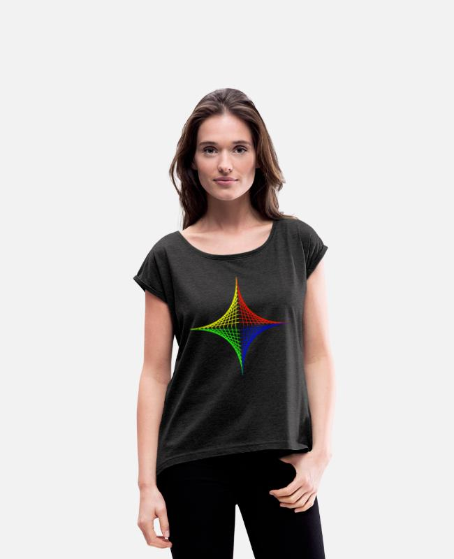 Red T-Shirts - Geometric design Color intensive - Women's Rolled Sleeve T-Shirt heather black