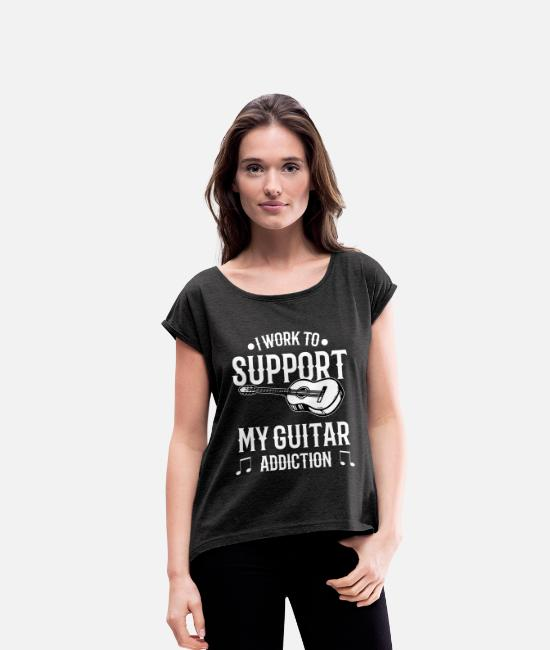 Guitar T-Shirts - Work to support Guitar - For Guitarists - Women's Rolled Sleeve T-Shirt heather black