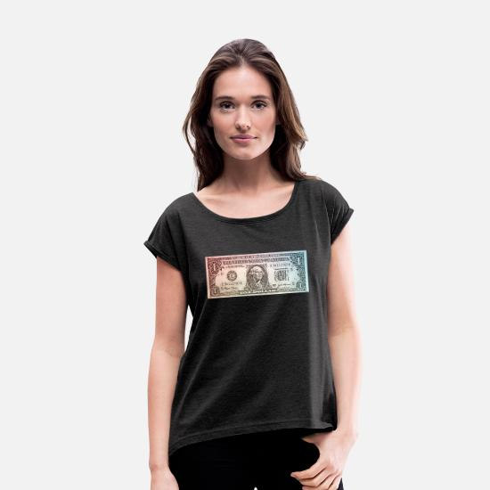 Dollars T-Shirts - dollar - Women's Rolled Sleeve T-Shirt heather black