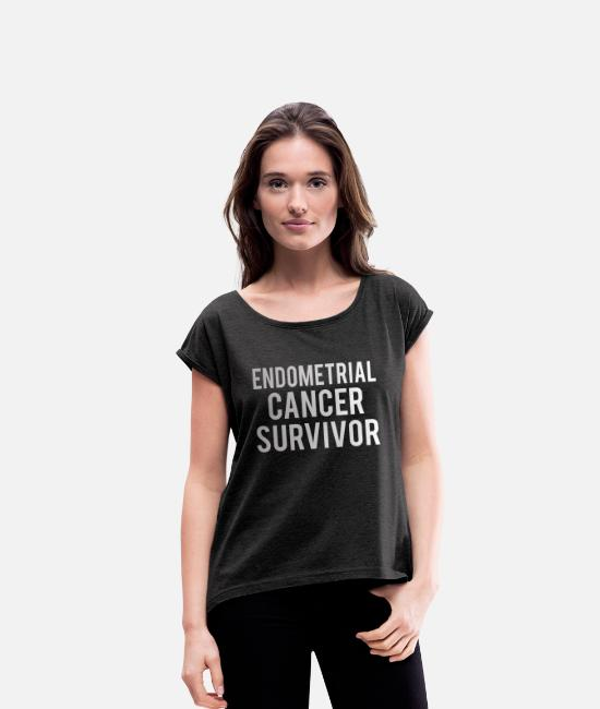 Ribbons T-Shirts - Endometrial Cancer: Endometrial Cancer Survivor - Women's Rolled Sleeve T-Shirt heather black