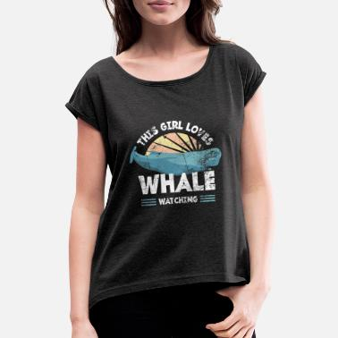 Marine Retro whale sperm whale - Women's Rolled Sleeve T-Shirt