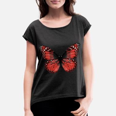 albanian Butterfly Flag Of Albania - Women's Rolled Sleeve T-Shirt