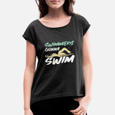 Outdoor Swimming Pool Swimming indoor pool outdoor swimming pool gift - Women's Rolled Sleeve T-Shirt