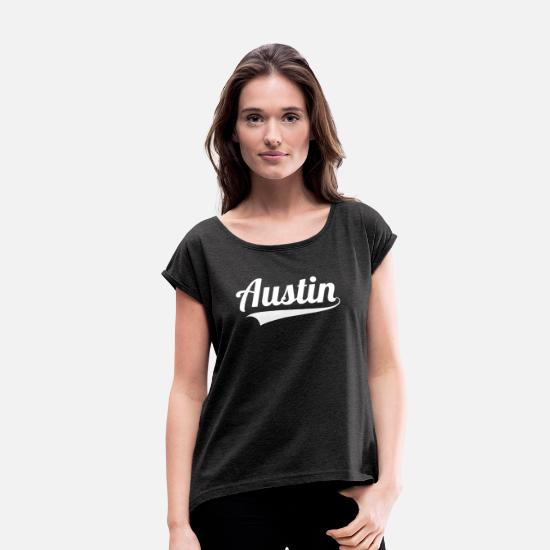 College T-Shirts - Austin Texas |Southern|Country|State| - Women's Rolled Sleeve T-Shirt heather black
