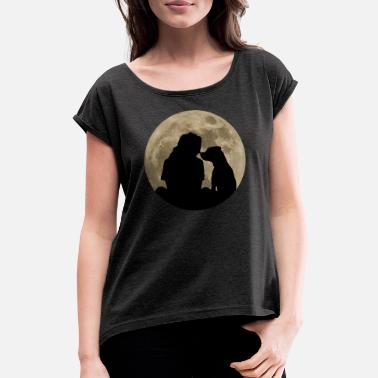 Dog Lover Dog dog lover moon silhouette animal lover - Women's Rolled Sleeve T-Shirt