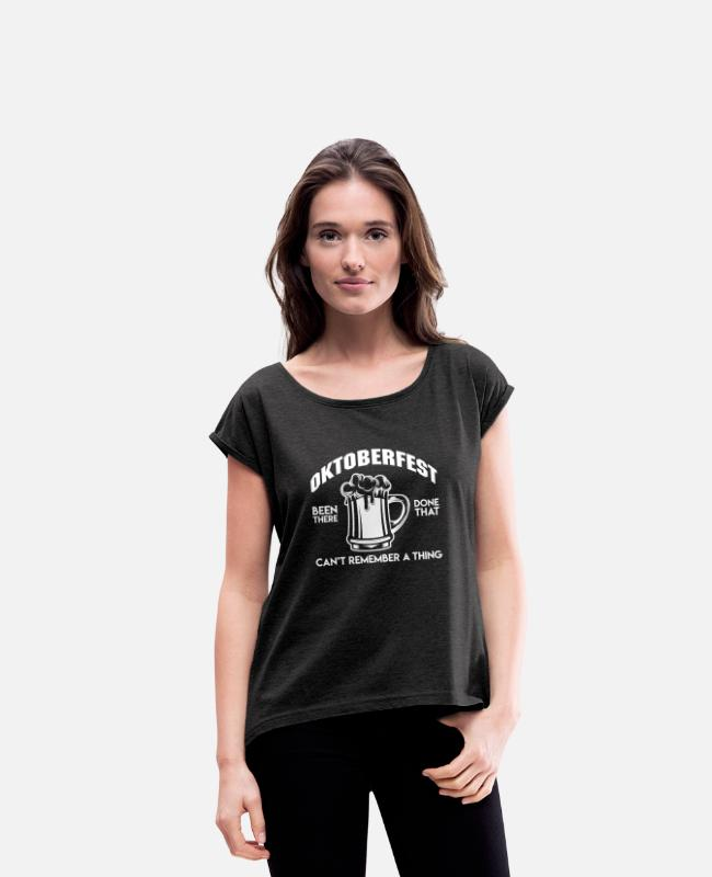 Leather Pants T-Shirts - Oktoberfest - I can not remember anything - Women's Rolled Sleeve T-Shirt heather black