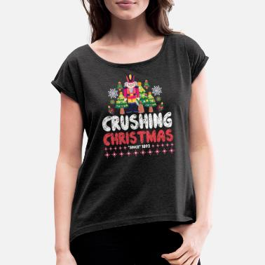 Christus Crushing Christmas - Nussknacker - Frauen T-Shirt mit gerollten Ärmeln