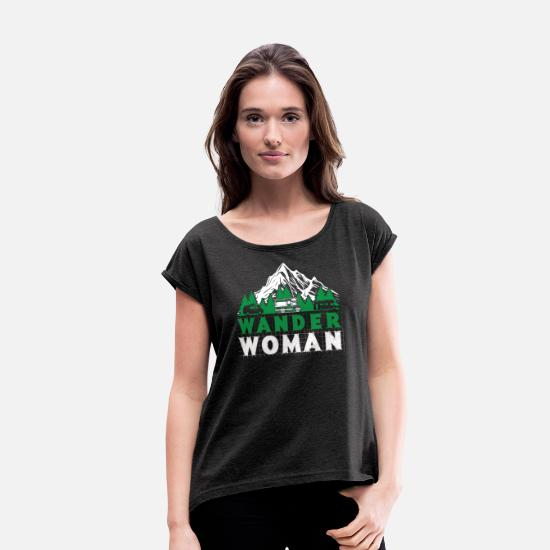 Rock Climbing T-Shirts - Wander Woman - mountaineering, hiking - Women's Rolled Sleeve T-Shirt heather black