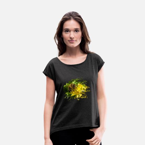 Waxe T-Shirts - Bees pollinate plants and produce sweet honey - Women's Rolled Sleeve T-Shirt heather black