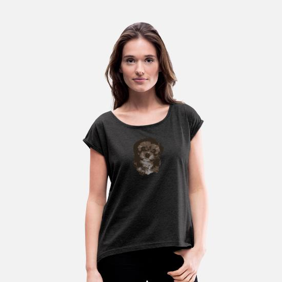 Cute Dog T-Shirts - Cute Dog/Pup - Women's Rolled Sleeve T-Shirt heather black