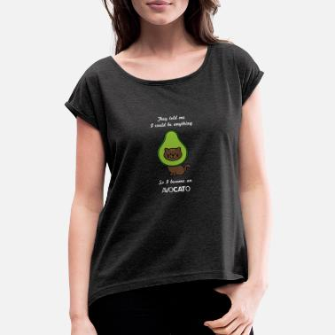 Pun Avocado Funny Cat - Women's Rolled Sleeve T-Shirt