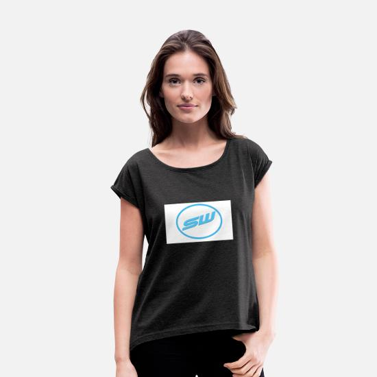 Cool T-Shirts - font - Women's Rolled Sleeve T-Shirt heather black
