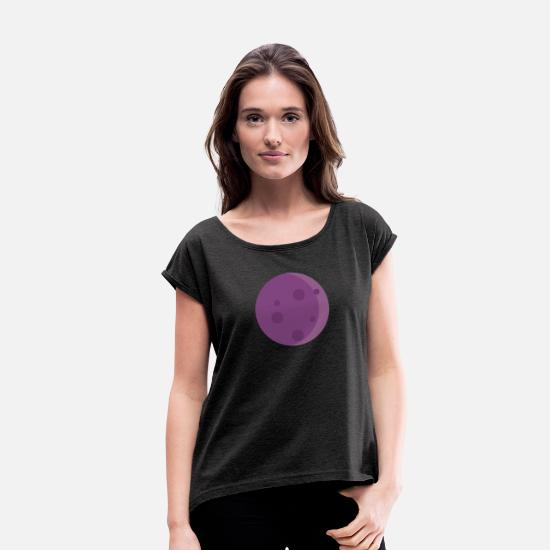 Saturn T-Shirts - planet - Women's Rolled Sleeve T-Shirt heather black