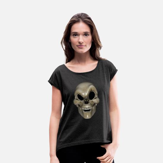 Drawing T-Shirts - Smart Skull - Women's Rolled Sleeve T-Shirt heather black