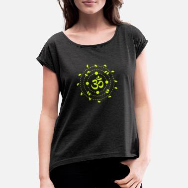 Mantra OM mantra symbol - Women's Rolled Sleeve T-Shirt