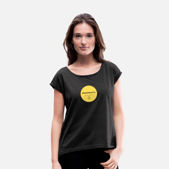 Message T-Shirts - Yellow Positive Shared World - Women's Rolled Sleeve T-Shirt heather black