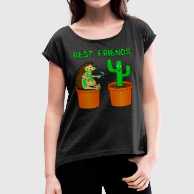 Hedgehog and Katus - Best friends - Women's T-shirt with rolled up sleeves