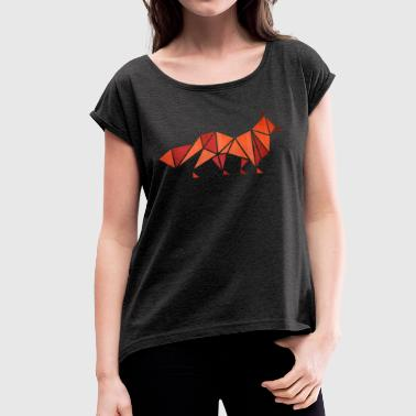 Origami: Fuchs (Pergament-Optik) - Women's T-shirt with rolled up sleeves