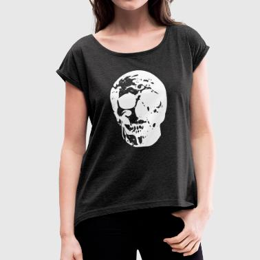 Skull white - Women's T-shirt with rolled up sleeves