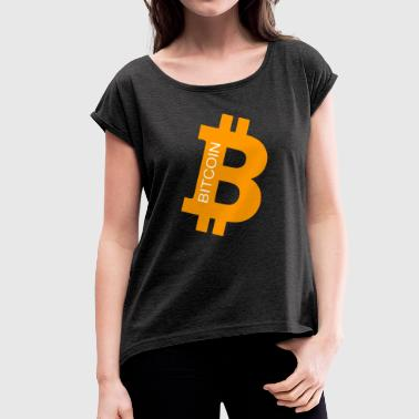 bit coin - Women's T-shirt with rolled up sleeves
