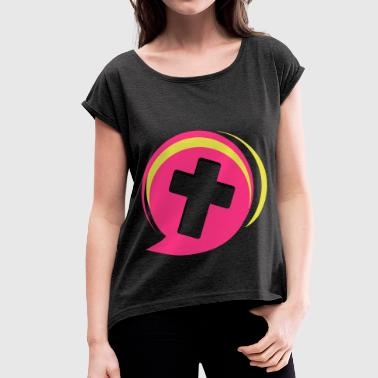 cross community - Women's T-shirt with rolled up sleeves