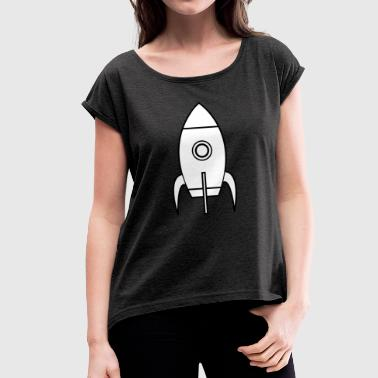 Rocket Rocket Space Shuttle UFO Spacecraft Moon - Women's T-shirt with rolled up sleeves