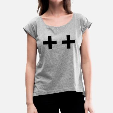 Boobies cross crosses boobs boobs boobies - Women's T-Shirt with rolled up sleeves