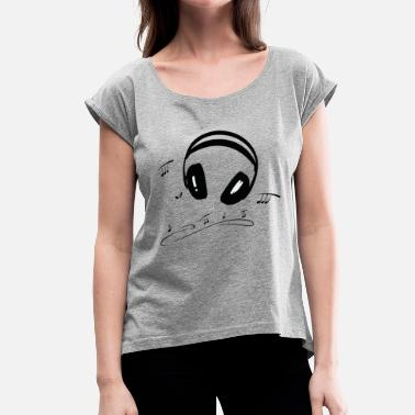 Music Notes Headphones with music notes. Music Design. - Women's T-Shirt with rolled up sleeves