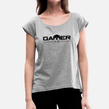 Juiceman Gamer For Life Black by JuiceMan Benji - Women's T-Shirt with rolled up sleeves