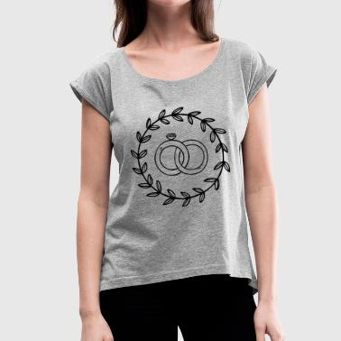 Ring, rings, wedding ring, engagement ring, diamond - Women's T-Shirt with rolled up sleeves