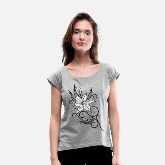 Bud T-Shirts - Lilies with filigree tribal ornament, floral. - Women's Rolled Sleeve T-Shirt heather grey