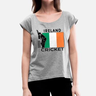 Gærdespiller Irland Cricket Player Flag - Dame T-shirt med rulleærmer