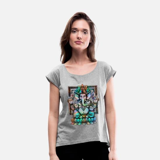 Mythical Collection T-Shirts - Cosmic Ganesh - Women's Rolled Sleeve T-Shirt heather grey